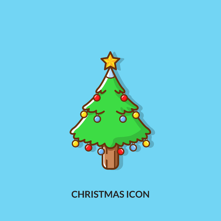 A christmas icon christmas tree on plain background
