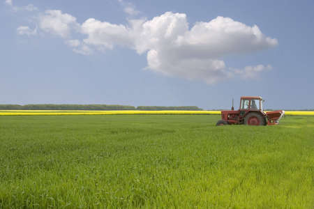plowing: tractor on the grass field Stock Photo