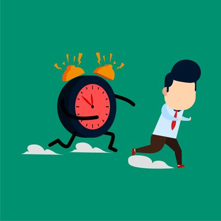 businessman ran from the clock monster because he ran out of time