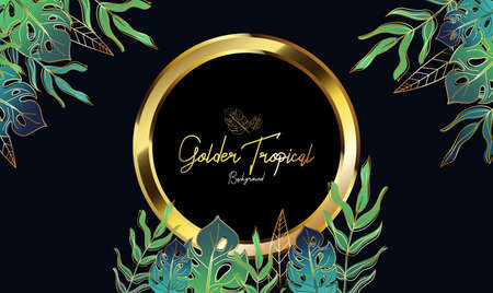 Golden Tropical Leaves background,can use for wedding invitation, cover book, card vector illustration Illustration
