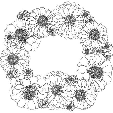 dessin au trait: d�crire couronne dessin de fleurs Banque d'images