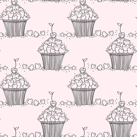 sweetest: Seamless pattern with doodle heart shaped cookies and cupcakes. Perfect for Saint Valentine and Sweetest day design