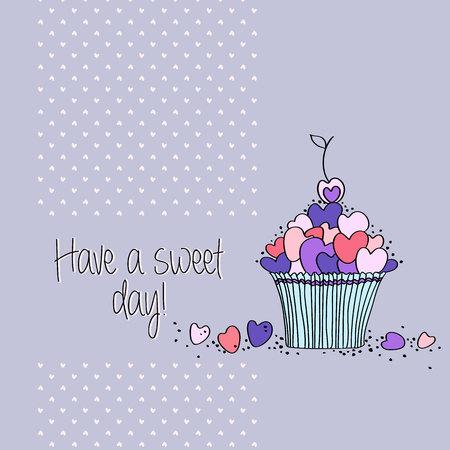 tarjeta de felicitación con forma de corazón galletas y bizcochos de bosquejo. Perfecto para San Valentín y el diseño más dulce día Ilustración de vector