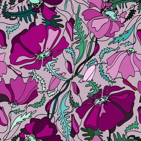 contrast: Poppy flower vector seamless contrast colorful pattern