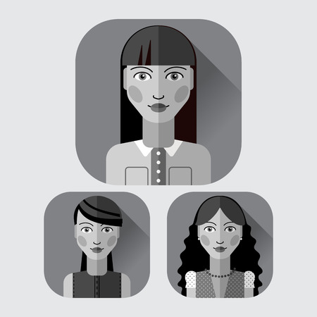 brunet: Vector flat icon avatar set. Brunet woman character with different hair style and clothes