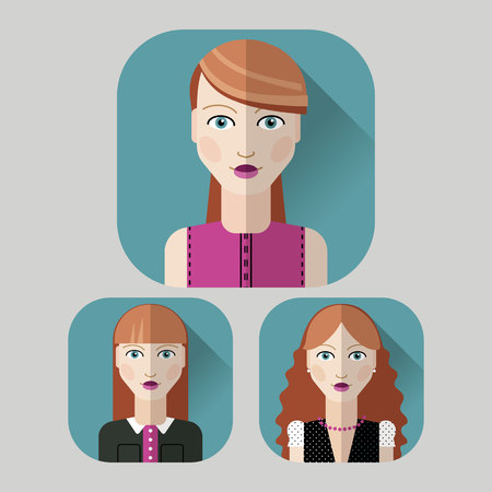red hair: Vector flat icon avatar set. Red hair woman character with different hair style and clothes