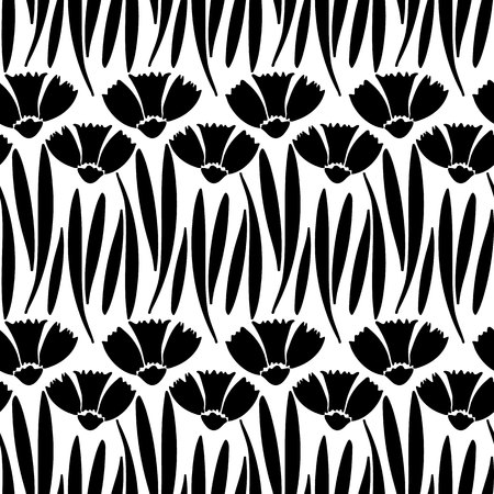 carnations: vector seamless pattern, simple hand drawn floral background with carnations