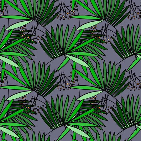 fauna: Seamless vector simple hand drawn pattern with green palm trees leaves and  parrots