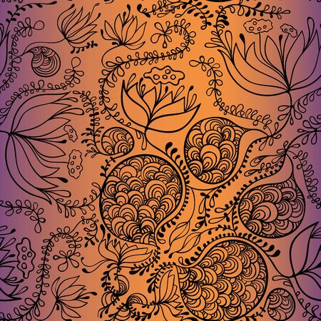 hand drawn floral pattern, vector background with floral motif Illustration