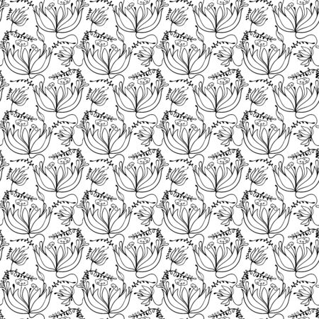 awaking: hand drawn floral pattern, vector background with floral motif Illustration