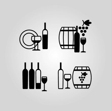 drinkware: Set of wine icons, symbols, signs and design elements, suitable for logo designs