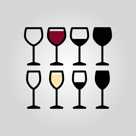 drinkware: flat outline wine glasses icon set, suitable for web and logo design
