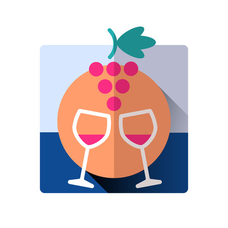 drinkware: wine glasses and grapes holiday celebrating vector flat icon