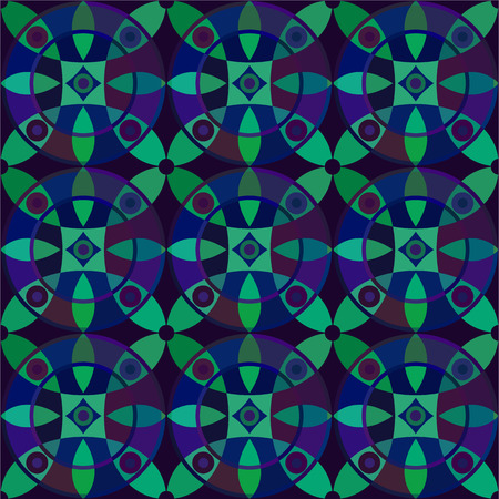corn flower: Vector seamless pattern with geometric ornament. Color decorative mosaic illustration