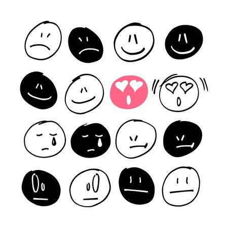 personas enojadas: Colección de dibujado a mano emoticones con diferentes expresiones.