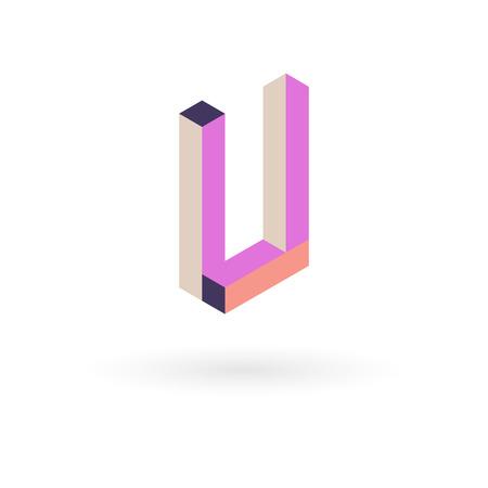 Vector illustration capital letter isometric design.