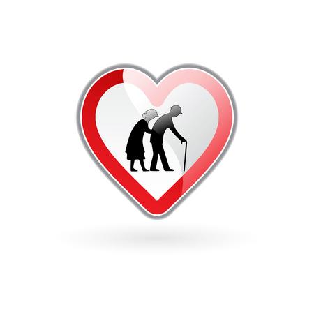 interdiction: illustration vectorielle de coeur dans la stylistique de signe de route exprimant soins aux personnes âgées