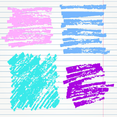 tearing down: set of hand drawn highlighter elements such as underlines, circles and signs