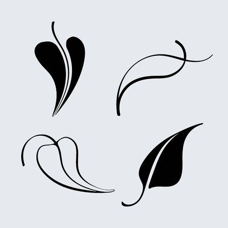 arbres silhouette: Ensemble d'icônes de feuilles de vecteur. Silhouette et décrit différentes feuilles d'arbres. Illustration