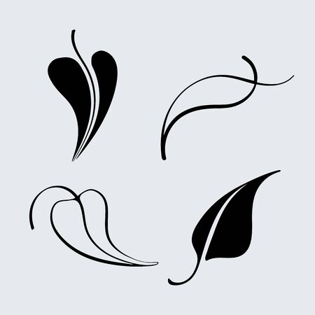 trees silhouette: Vector leaf icon set. Silhouette and outlined different leaves of trees.