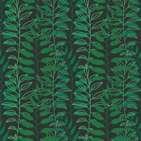 chlorophyll: Background of leaves. Vector pattern. Vector texture with hand drawn leaves and plants.