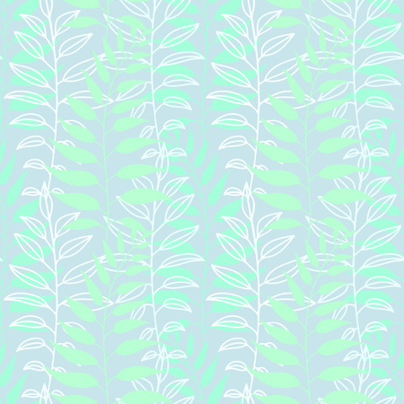 thickets: Background of leaves. Vector pattern. Vector texture with hand drawn leaves and plants.