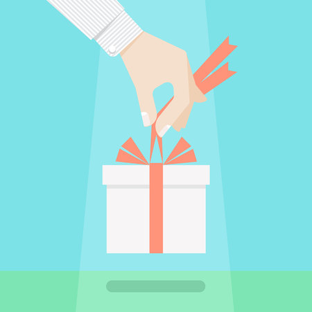 destiny: Gift of heaven concept. Coming a present from destiny, hand holding a gift box with bow of ribbon. Delivery of present from above, unexpected offering, important grant