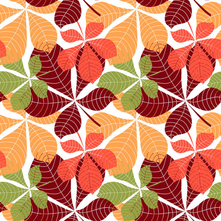 Seamless background with colorful autumn leaves. Vector illustration. Pattern with colorful fall leaves. Illustration