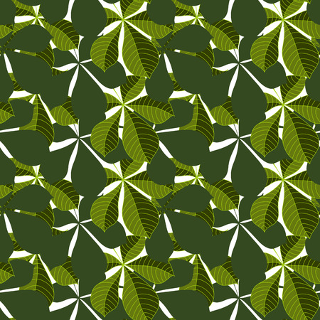 Background of leaves. Vector pattern. Vector texture with hand drawn leaves and plants.