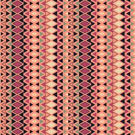 geometrically: Ethnic pattern background with geometrical elements. Simple repeating geometric texture. Seamless colorful background with triangles in rows. Vector pattern with geometrically designed ethnic motif. Illustration