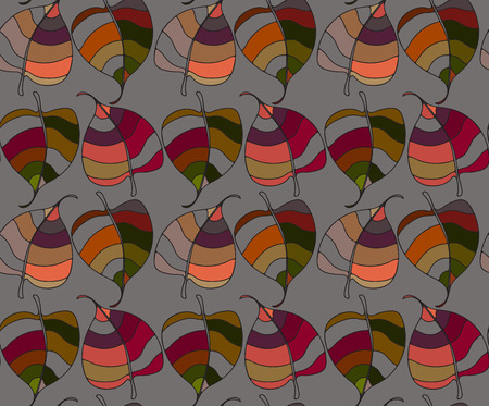 autumn motif: Seamless colorful pattern with leaves. Drawn various contrast coloristic background with floral motif. Autumn ornamental gaudy leave texture.