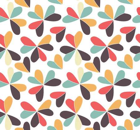 shamrock seamless: Vector seamless pattern with hearts placed in clover shapes. Flat shamrock imagined colors background. Simple repeating colorful texture. Various color minimalistic backdrop.