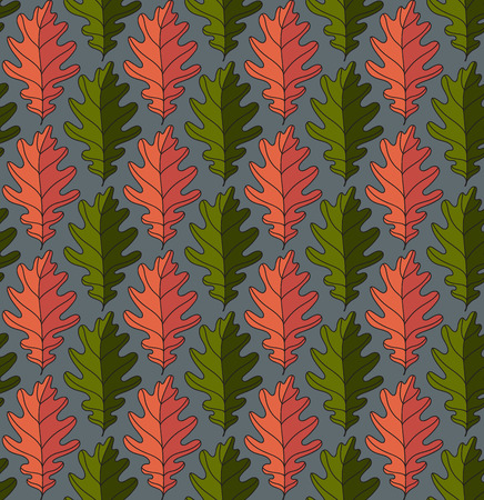 gaudy: Seamless colorful pattern with leaves. Drawn various contrast coloristic background with floral motif. Autumn ornamental gaudy leave texture.