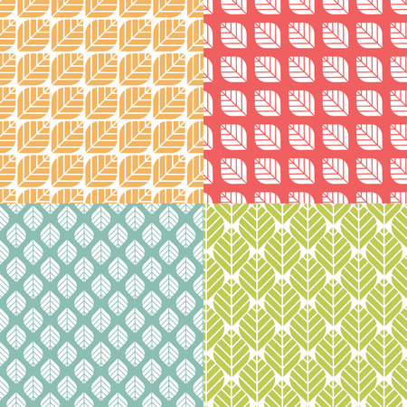 naturalistic: Retro geometric floral pattern. Simple repeating texture with leaves. Minimalistic colorful background. Seamless vector flat design with naturalistic motif.