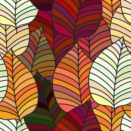 Seamless background with colorful autumn leaves. Vector illustration. Repeating texture with floral motif. Illustration