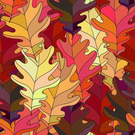 autumn motif: Seamless background with colorful autumn leaves. Vector illustration. Repeating texture with floral motif. Illustration
