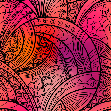 Hand drawn floral pattern. Colorful seamless background with linear botanical abstract illustration.