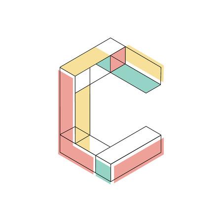 Letra C mayúscula ilustración de diseño isométrica Foto de archivo - 64940093