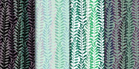 Fondo de las hojas. Modelo del vector. Textura del vector con las hojas y plantas dibujadas a mano.