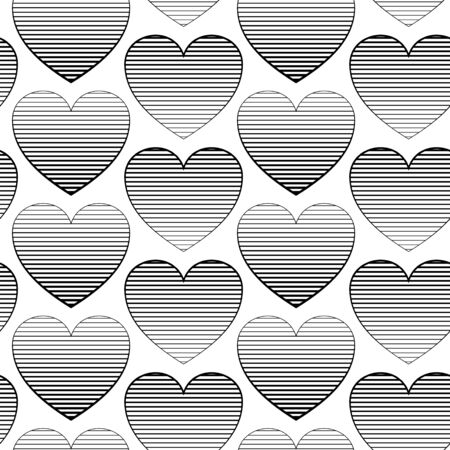 gradually: Seamless pattern with hearts. Surface pattern with colored striped hearts. Romantic pattern for wedding invitations, greeting cards, print, gift wrap.