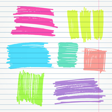 doodled: set of hand drawn highlighter colorful elements such as underlines, strokes and squares Illustration