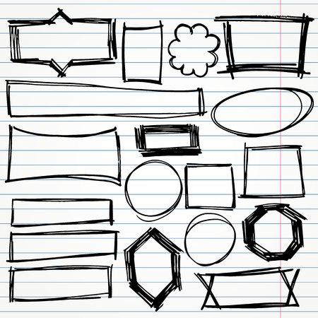 geometric hand drawn doodle shapes vector set