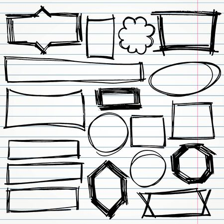 Frames, squares, circles and abstract geometric doodle shapes vector set Stock Photo