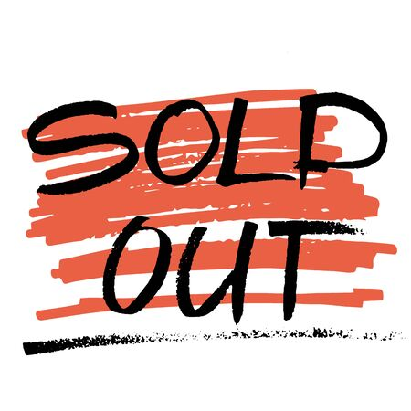 doodled: vector marker hand drawn words sold out