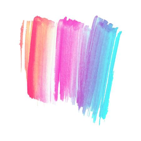 Un vector dibujado a mano acuarela pincel mancha. Trazo pintado de colores. Ilustración de vector