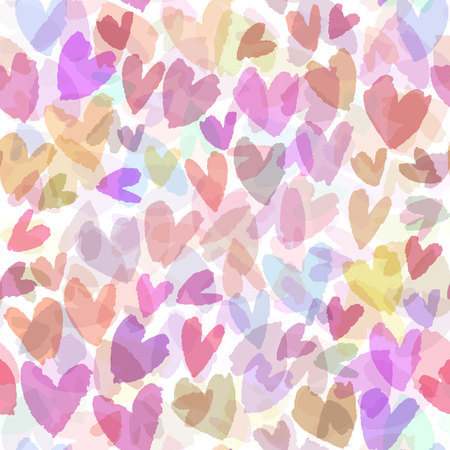 Seamless vector pattern with hand drawn hearts. Romantic background with pink hearts. Vector seamless background. Illustration
