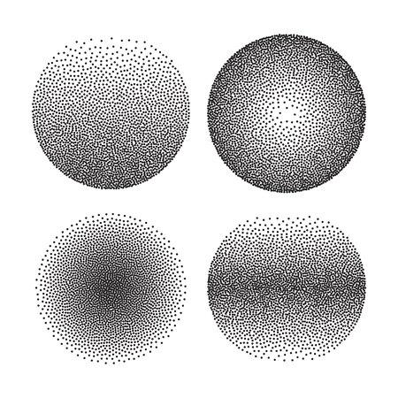 Set di punti mezzatinta vettore forme del cerchio. Forme punteggiate astratte punteggiate. Vettoriali