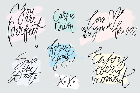 Set of hand drawn slogans with painted strokes. Lettering. Phrases and greetings by hand in marker drawn style.