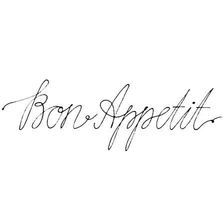 手には、ベクトル文字が描画されます。手でボナペティを言葉します。ベクトル図を分離しました。現代書道を手書き。ポストカード、ポスター、