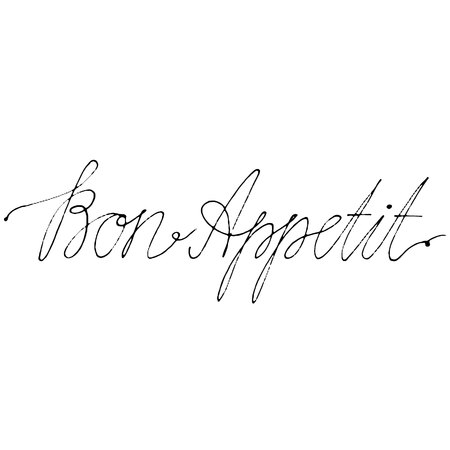 Hand drawn vector lettering. Words Bon Appetit by hand. Isolated vector illustration. Handwritten modern calligraphy. Inscription for postcards, posters, prints, greeting cards. Ilustração